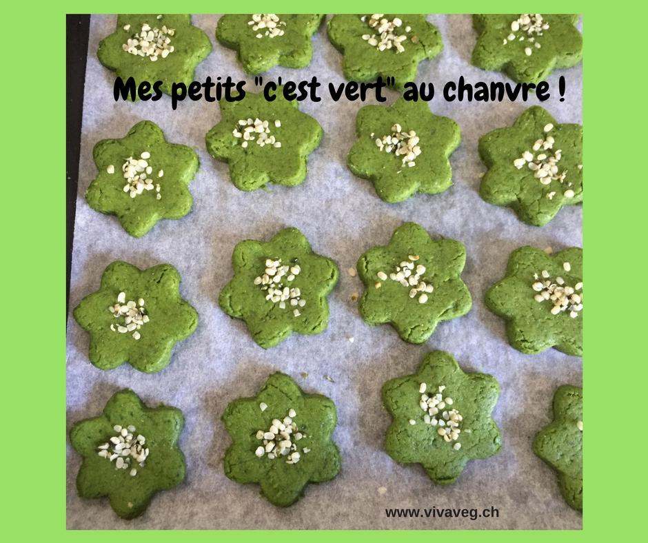 Mes petits «Shrek» ! Biscuits salés épinards & huile de chanvre